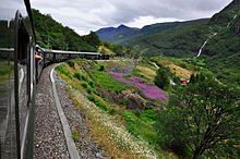 The flam railway train route views norway