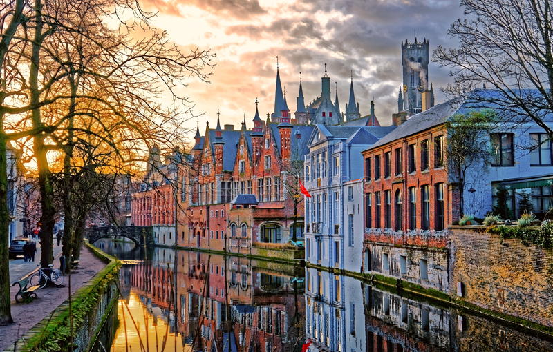 bruges river is among European cities best visited by train