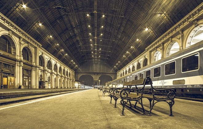 Travel by Train in Budapest train station