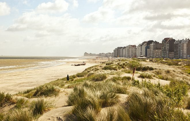 Beach holidays by train in Belgium, beach front view