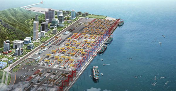 bird's eye view of the new port in Alat which will benefit from the new train link