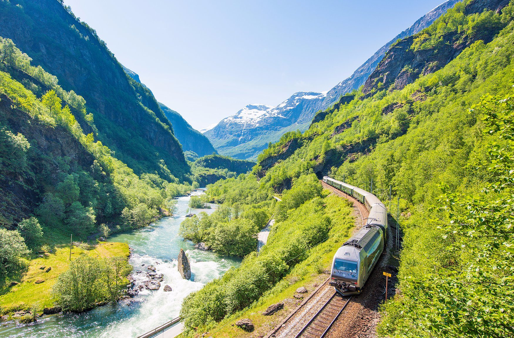 Flam to Myrdal train travel valley and mountains and rivers