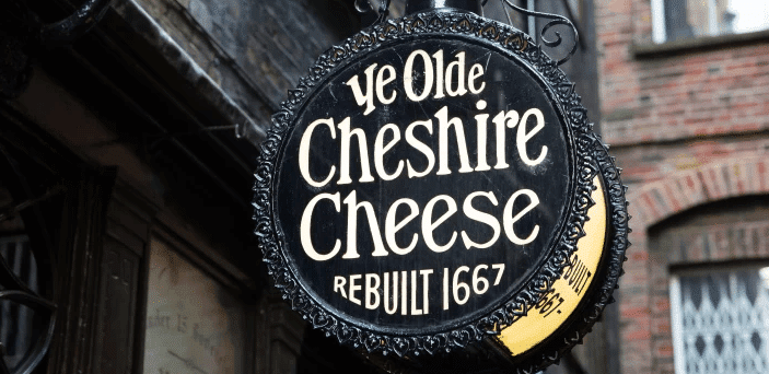 Ye Olde Cheshire Cheese place sign