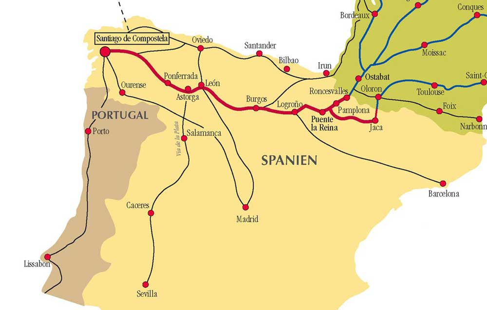 Camino Spain possible Routes