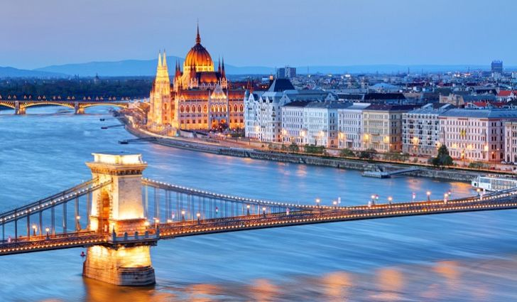 Danube river at night