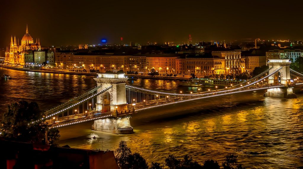 Budapest night view of the city