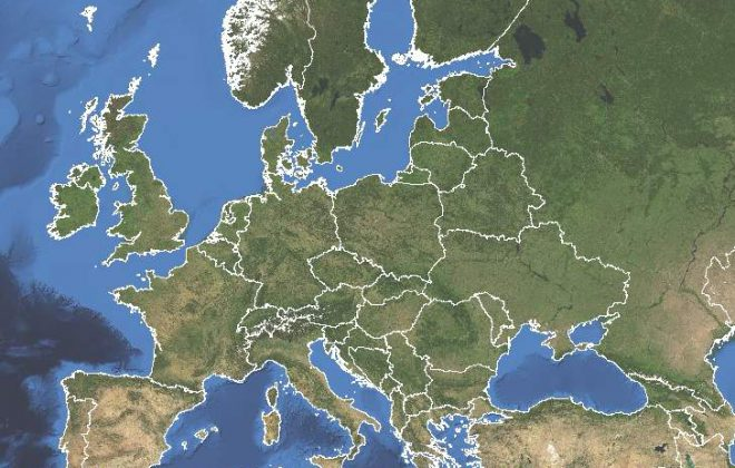 Europe from above with borders marked