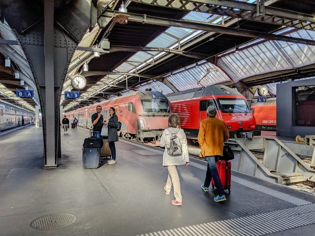 People boarding a train in Europe