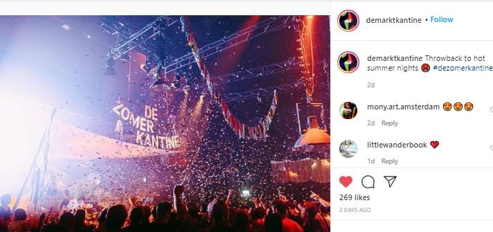 Amsterdam party at a nightclub instagram picture