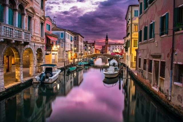 Venice Italy Canal at night