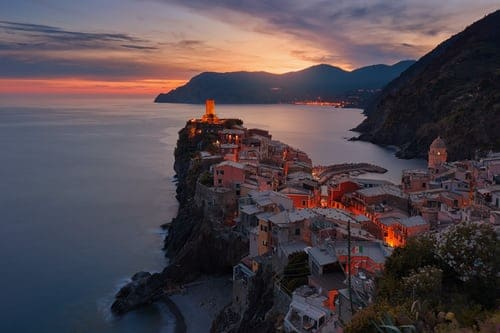 Cinque Terre Italy at sunset