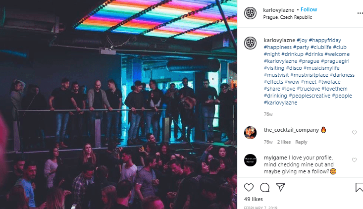 People dancing at prague czech republic party at a nightclub instagram picture