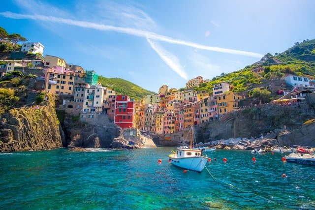 Cinque Terre Italy picture from the sea