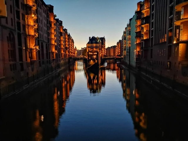 Hamburg Germany Cancal at sunset