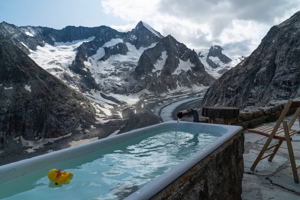 The Swiss Alps Outdoor hot bath