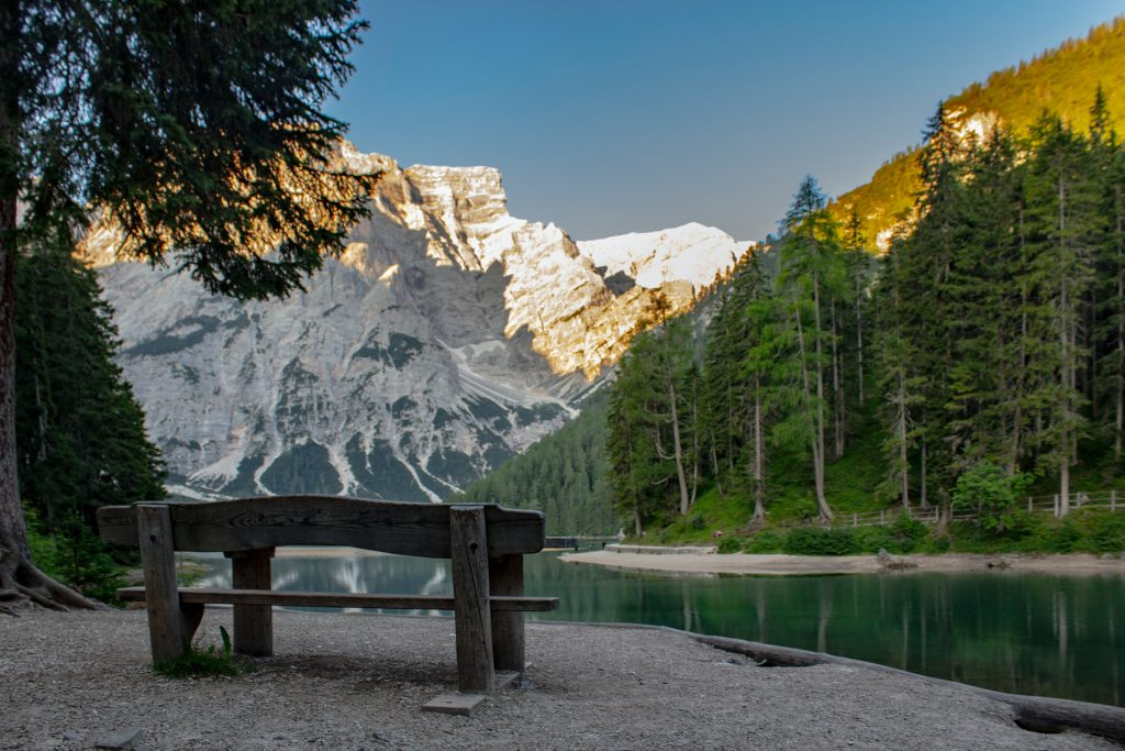 Picnic Spot in Lago Di Braies Lake, Italy