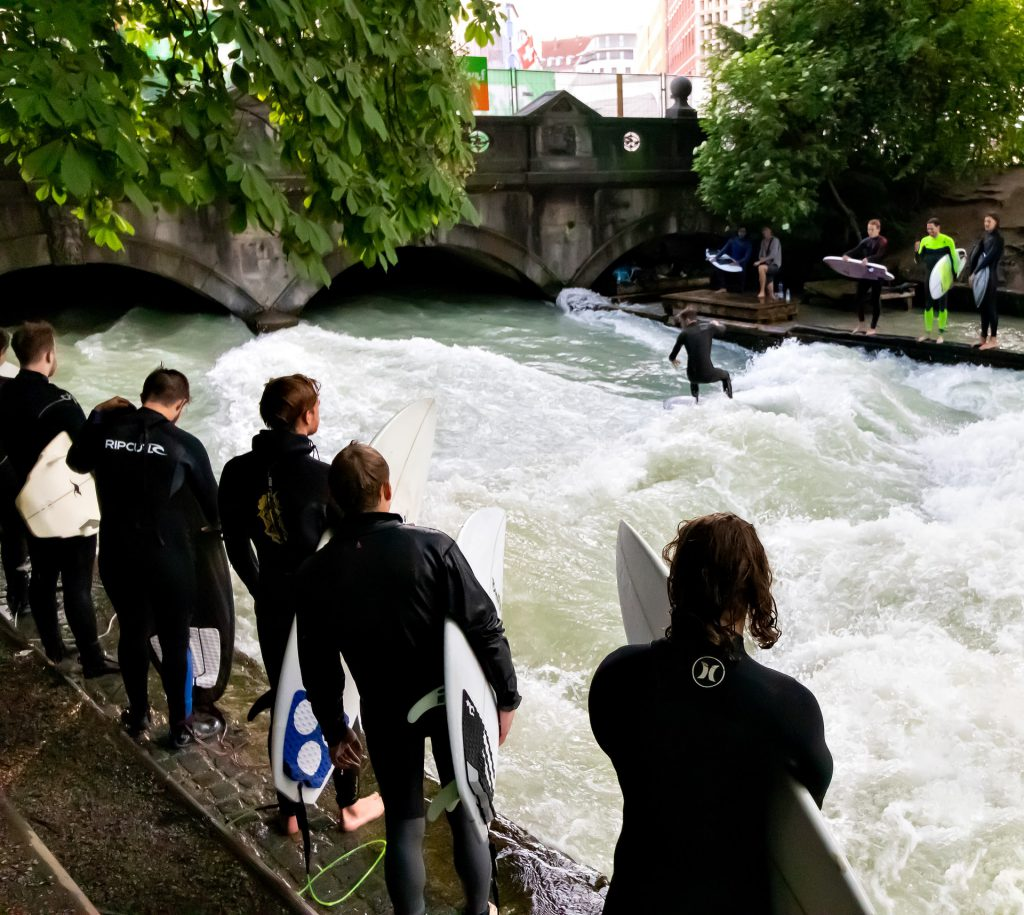 Munich Germany river surfing