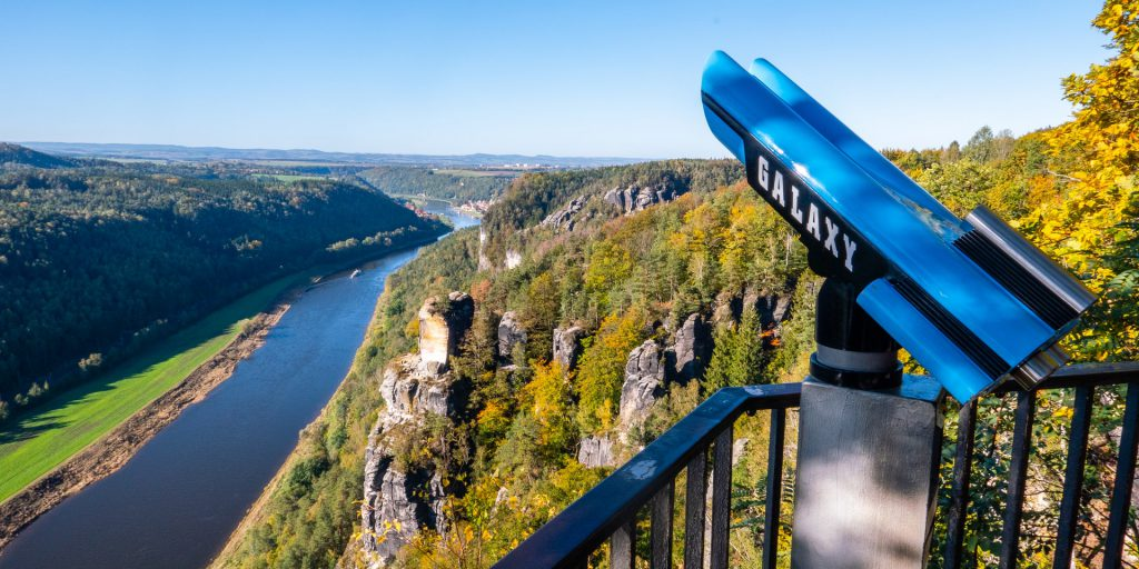 Binocular watching The River In Saxon Switzerland, Germany