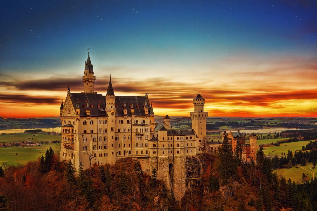 Neuschwanstein Castle Germany sunset viewpoint