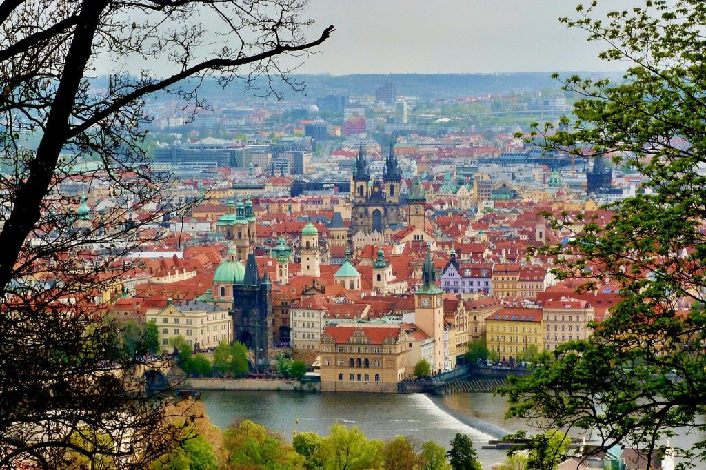 Prague city view is the start of the Best free walking tours Europe