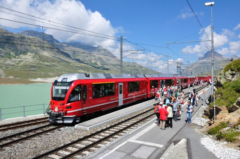 Sbb trains by the lake and mountains