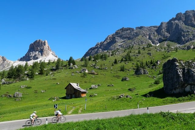 Bicycles going uphill in the The Dolomites In Italy