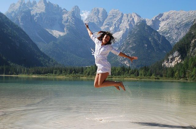 Jump Photograph With a mountain behind