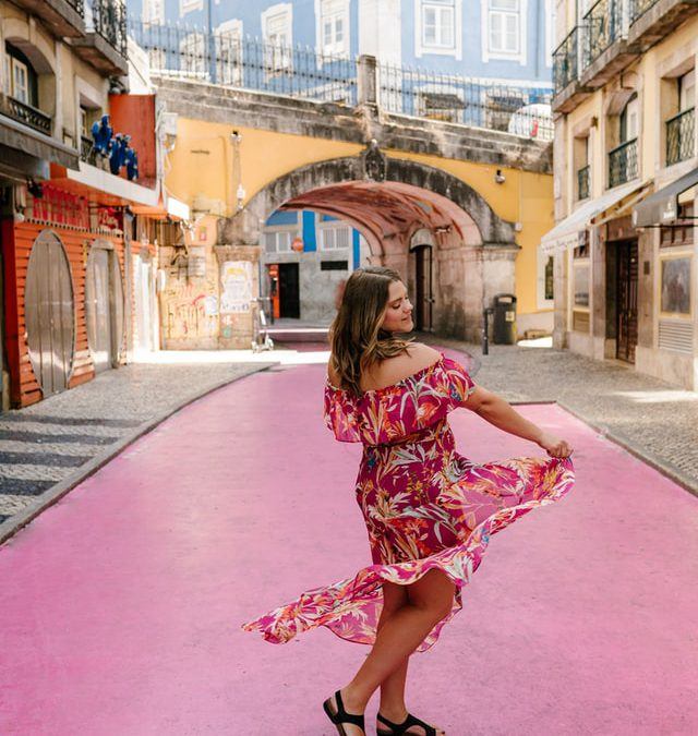 Nice dress with a building behind